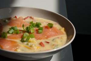 Kartoffelsuppe mit Lachs